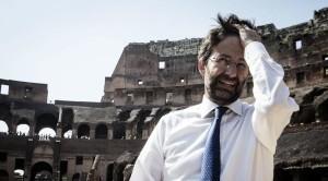 Il ministro dei Beni Culturali Dario Franceschini durante la presentazione dell'iniziativa di ricostruzione del montacarichi che portava in superficie le belve al Colosseo, Roma, 05 giugno 2015. ANSA/ ANGELO CARCONI