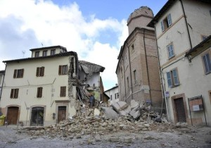 Rubbles and destroyed houses in Camerino, near Macerata, a day after two big earthquakes shook central Italy, 27 October 2016. At least 200 aftershocks followed the first of two big earthquakes to hit central Italy on Wednesday, the National Institute of Geophysics (INGV) said Thursday. The first 5.4 magnitude quake struck at 19:10 Italian time and was followed by an even bigger one, of magnitude 5.9, at 21:18. But there were at least 200 aftershocks too. ANSA/ CRISTIANO CHIODI