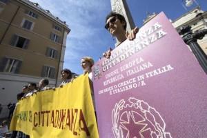Il sit-in a Montecitorio a favore del IUS SOLI 12 settembre 2017 a Roma. ANSA/MASSIMO PERCOSSI